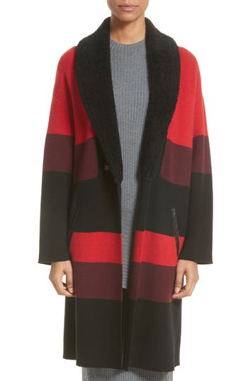 St. John Collection Double Knit Felted Wool Blend Coat With Genuine Shearling Collar, Red