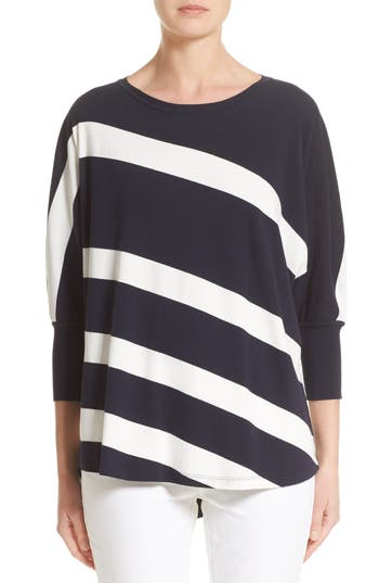 Women's Lafayette 148 New York Stripe Sweater, Size Medium - Blue
