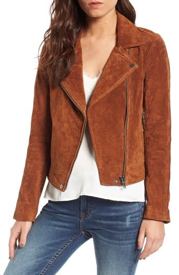 Women's Blanknyc Suede Moto Jacket, Size X-Small - Brown