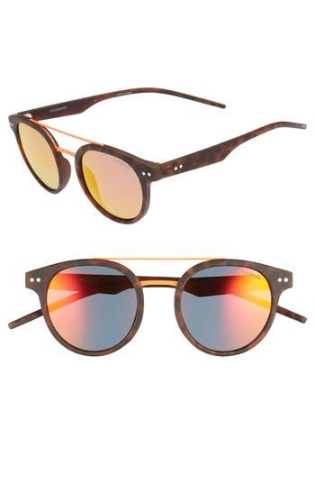 Women's Polaroid 49Mm Polarized Retro Sunglasses - Matte Havana/ Brown Mirror