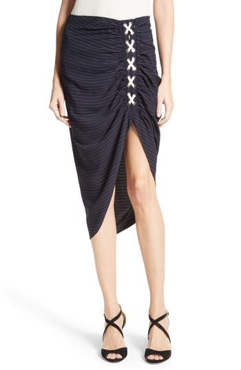 Women's Veronica Beard Marlow Ruched Lace-Up Skirt