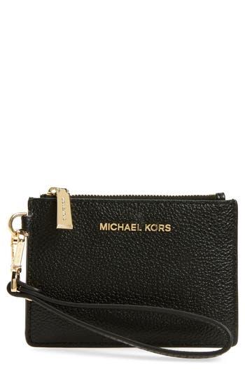 Women's Michael Michael Kors Small Mercer Leather Rfid Coin Purse - Black