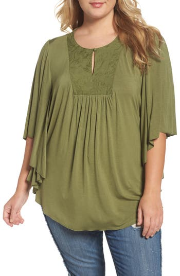 Plus Size Women's Melissa Mccarthy Seven7 Embroidered Bib Top, Size 1X - Green