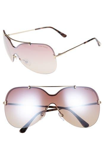 Women's Tom Ford Ondria Gradient Lens Shield Sunglasses - Shiny Rose Gold/ Brown