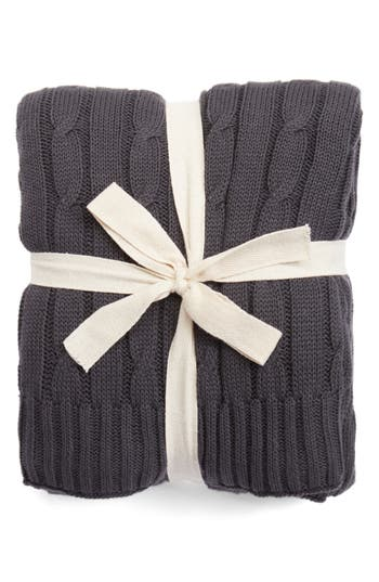 Rizzy Home Cable Knit Cotton Throw, Size One Size - Black