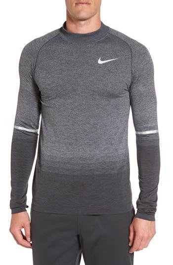Nike Dry Running Mock Neck Long Sleeve T-Shirt, Grey