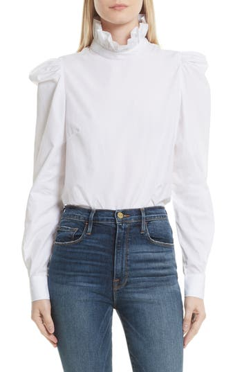 Victorian Style Blouses, Tops, Jackets Womens Frame Cotton Blouse Size X-Small - White $255.00 AT vintagedancer.com