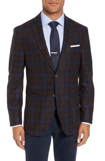 Men's Jkt New York Trim Fit Plaid Wool Blend Sport Coat