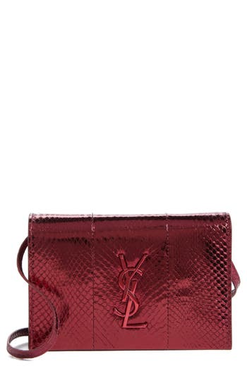 Saint Laurent Toy Kate Metallic Snakeskin Crossbody Bag - Burgundy