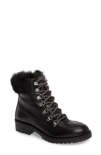 Charles David Rugby Genuine Rabbit Fur Lace-Up Boot Black