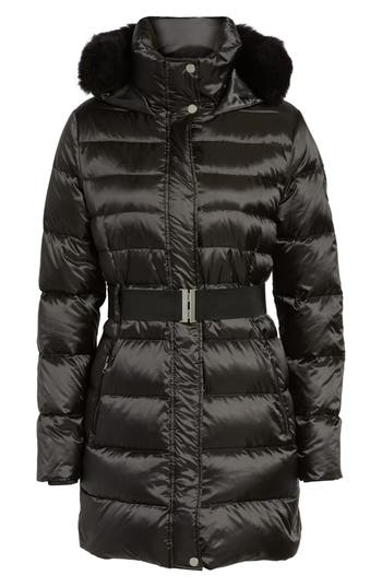 Ugg Genuine Shearling Trim Belted Down Coat, Black