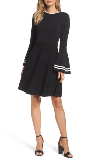 Eliza J Bell Sleeve Fit & Flare Dress, Black
