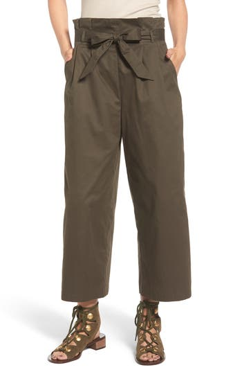 Women's Soprano Paperbag Waist Wide Leg Pants, Size Medium - Green