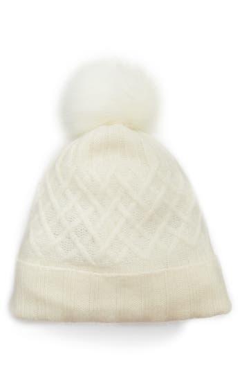 Women's Halogen Cashmere Beanie With Faux Fur Pom - Ivory
