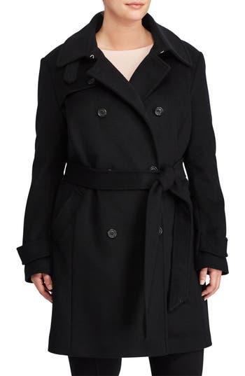 Plus Size Lauren Ralph Lauren Wool Blend Trench Coat, Black