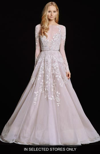 Women's Hayley Paige Hayley Embellished English Net & Tulle Long Sleeve Ballgown