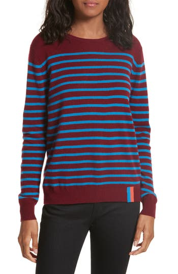Women's Kule Stripe Cashmere Sweater, Size X-Small - Red