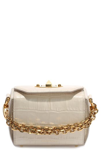 Alexander Mcqueen Mini Box Croc-Embossed Leather Bag - White