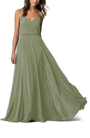 Women's Jenny Yoo Inesse Chiffon V-Neck Spaghetti Strap Gown, Size 2 - Green