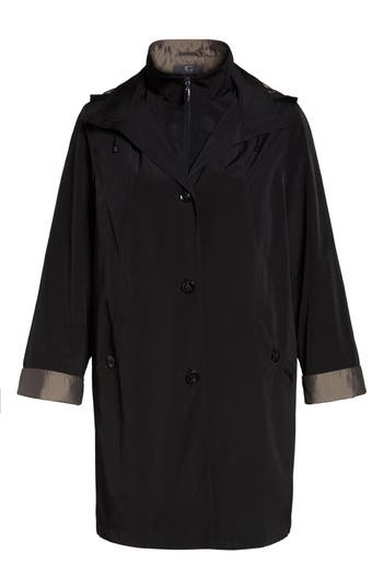 Plus Size Women's Gallery Two-Tone Long Silk Look Raincoat, Size 1X - Black