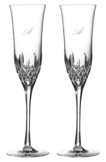 waterford lismore essence set of 2 monogram lead crystal champagne flutes - Crystal Champagne Flutes
