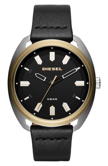 Men's Diesel Fastbak Leather Strap Watch, 45Mm X 51Mm