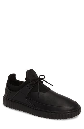 CREATIVE RECREATION Men'S Castucci Leather Lace Up Sneakers in Black/Black