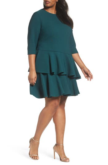 Plus Size Women's Eliza J Ruffle Tiered Shift Dress, Size 14W - Green