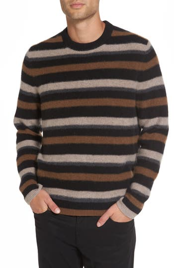 Men's Vince Stripe Cashmere Sweater, Size Small - Black