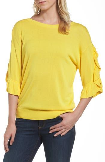 Women's Halogen Ruffle Sleeve V-Back Sweater
