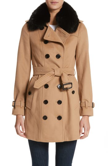 Women's Burberry Sandringham Wool & Cashmere Trench Coat With Removable Genuine Fox Fur Collar