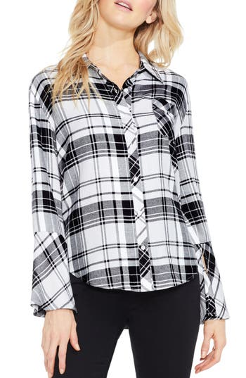 Women's Two By Vince Camuto Plaid Bell Sleeve Shirt