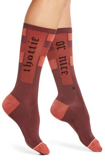 Women's Stance Sparks Everyday Crew Socks, Size Small - Burgundy