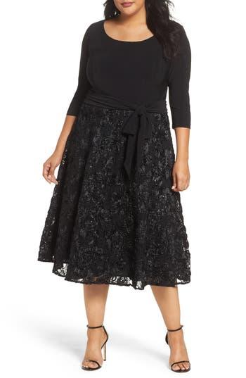 Plus Size Women's Alex Evenings Tea Length Jersey & Rosette Lace Dress