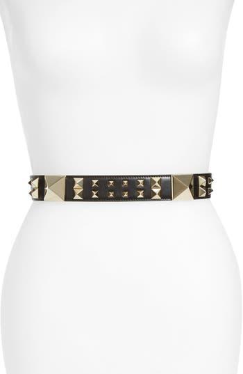 Women's Valentino Garavani Lovestud Calfskin Leather Belt, Size 75 - Black