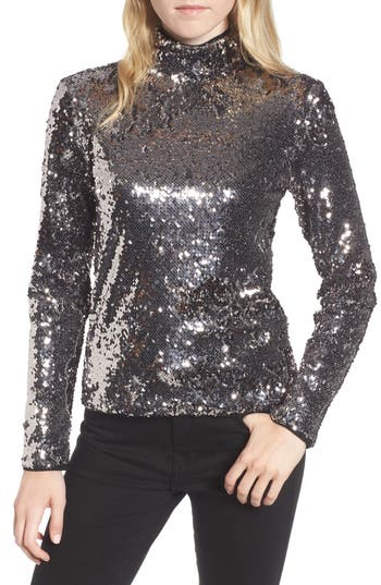 Women's Trouve Sequin Mock Neck Top, Size XX-Small - Metallic
