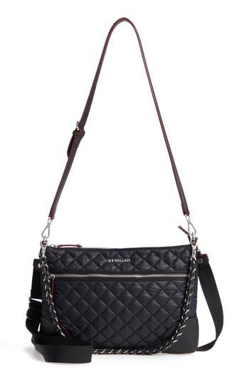 Mz Wallace Crosby Quilted Oxford Nylon Crossbody - Black