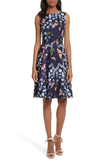 Women's Ted Baker London Jennesa Kyoto Gardens Faux Wrap Dress, Size 0 - Blue