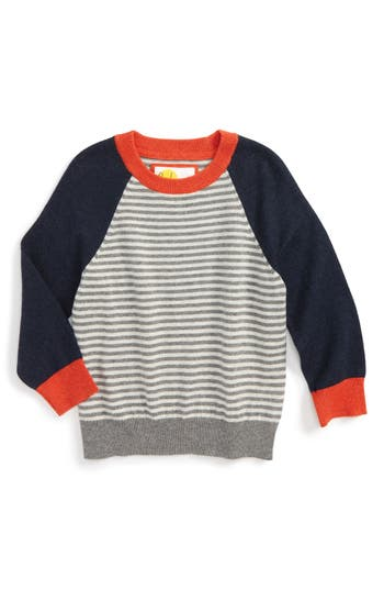 Boy's Mini Boden Stripe Sweater, Size 5-6Y - Grey