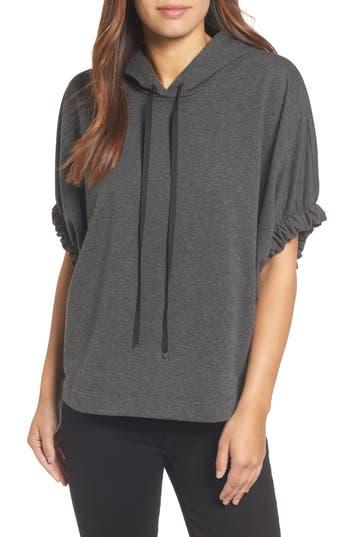 Women's Bobeau Gathered Sleeve Hoodie, Size X-Small - Grey