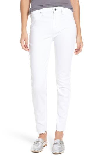 7 For All Mankind Raw Hem Skinny Jeans, White