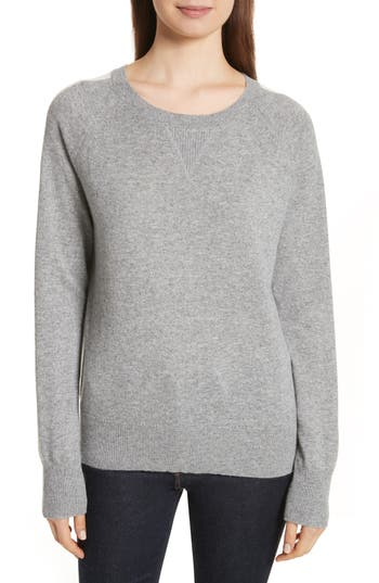 Women's Theory Athletic Stripe Cashmere Sweater, Size Petite - Grey