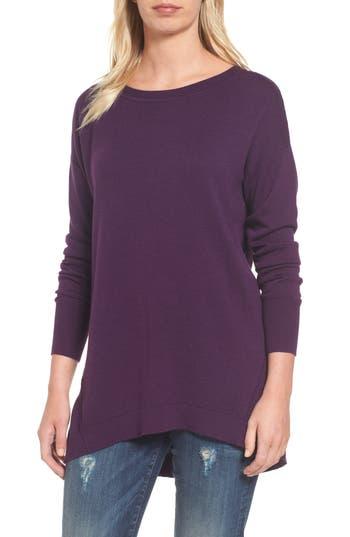 Women's Caslon Zip Back High/low Tunic Sweater, Size X-Small - Purple