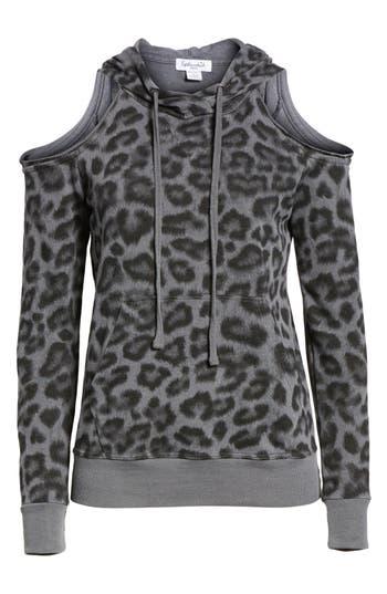 Women's Splendid Leopard Print Cold Shoulder Hooded Sweatshirt