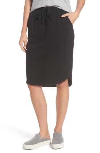Women's Bobeau Jogger Stretch Midi Skirt, Size X-Small - Black