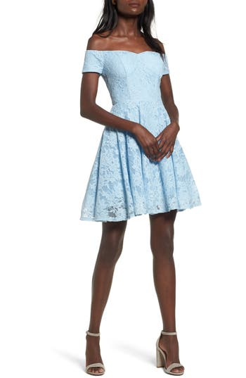Women's Soprano Lace Off The Shoulder Fit & Flare Dress, Size X-Small - Blue