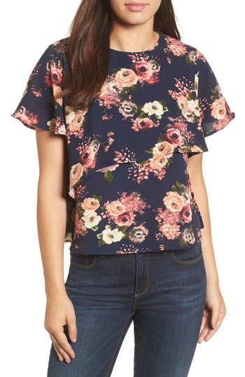 Women's Halogen Layered Floral Top, Size X-Small - Blue