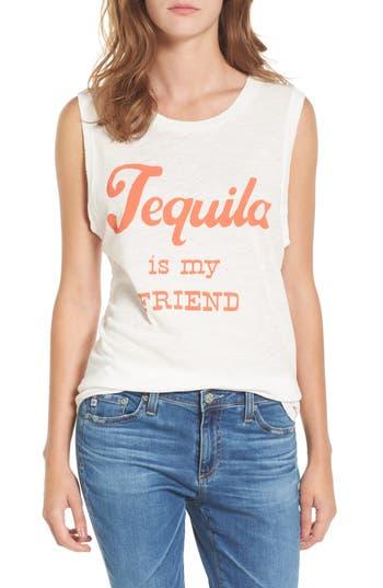 Women's Junk Food Tequila Is My Friend Muscle Tank, Size Medium - White