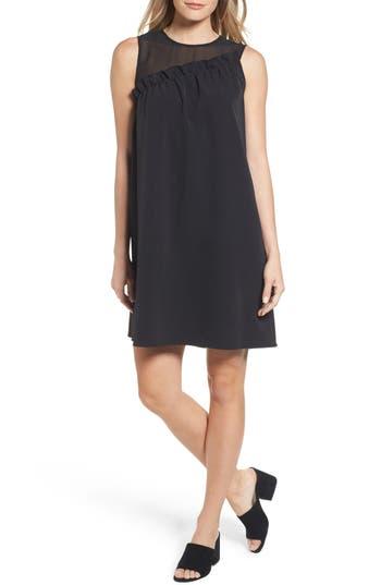 Women's Halogen Mix Media Ruffle Shift Dress, Size X-Small - Black