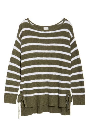 Plus Size Women's Caslon Tunic Sweater With Side Ties, Size 0X - Green